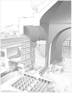 Bosra. Restitution du praefurnum des Thermes du Centre (T. Fournet)