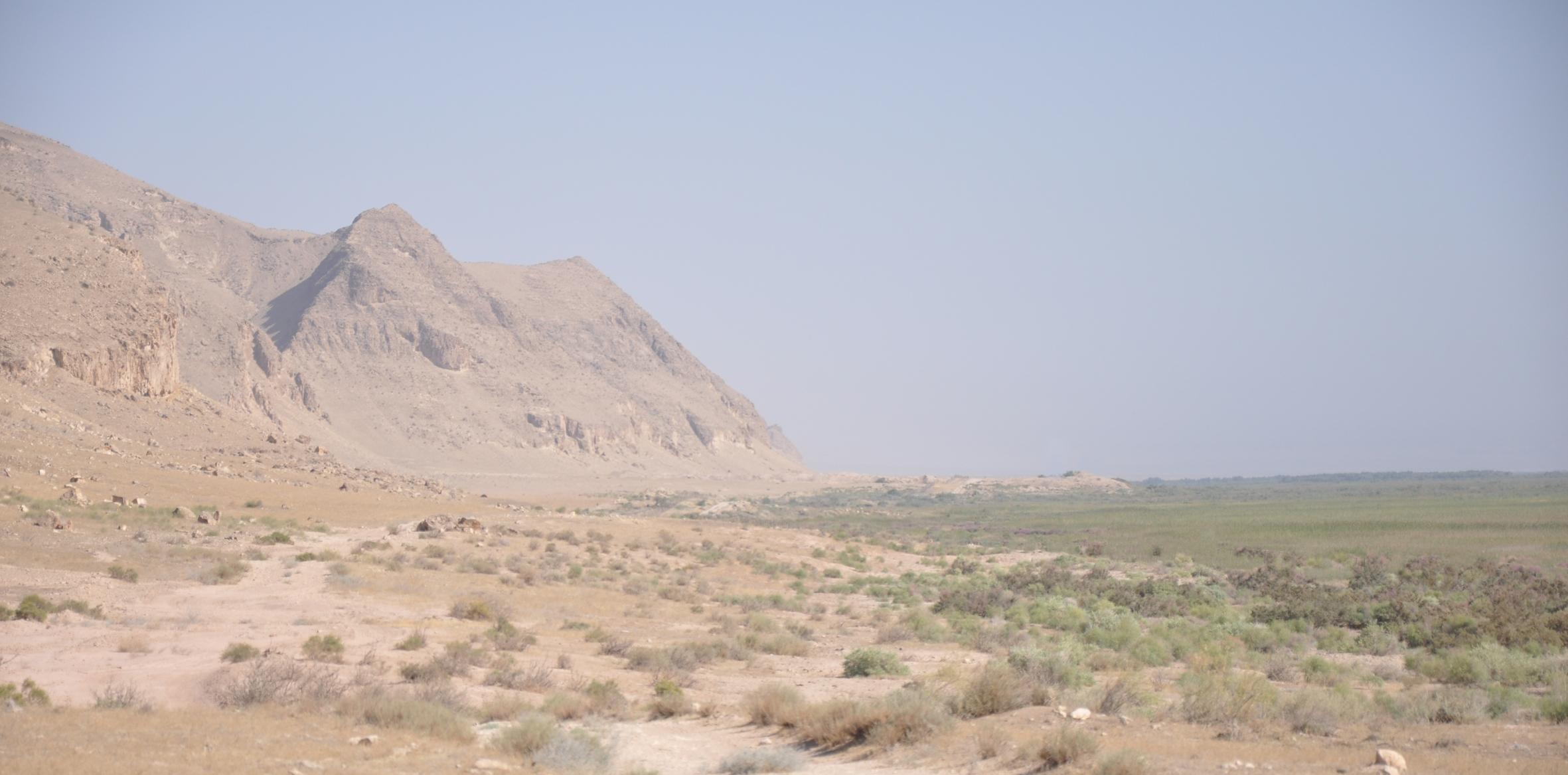 La citadelle de Takh-i Sangin qui s'avance vers l'Amou Darya, vue vers l'est. Photo © M. Gelin.