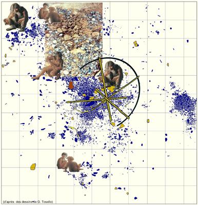 Un modèle d'espace social sur l'un des sols d'habitation d'Etiolles (l'unité Q31)