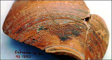 Sigillée décorée à la molette découverte sur le site d'Entrains (Cliché P. Van Ossel)