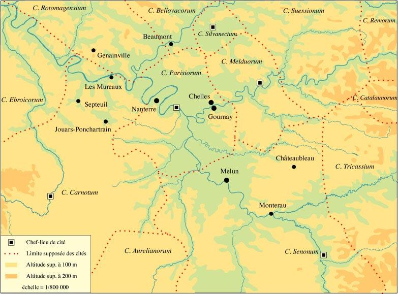 Carte de localisation des agglomérations étudiées dans le cadre du programme Carte P. Ouzoulias